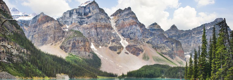Beautiful landscape with Rocky Mountains and famous Moraine Lake