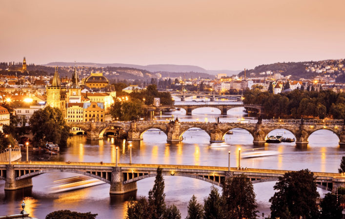 bridges of Prague at Twilight, Czech Republic