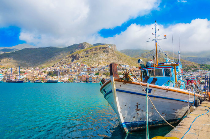 Typical Greek Fishermans' boat in harbour, Greece