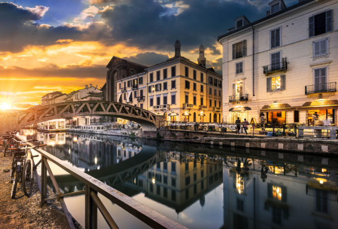 Bridge across the Naviglio Grande canal at the evening in Milan, Italy shutterstock_316886099-2