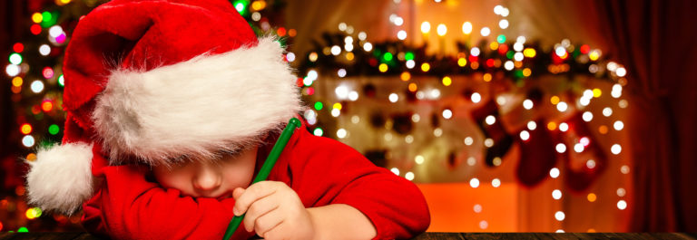 Christmas Child Write Letter to Santa Claus, Kid in Santa Hat Wr