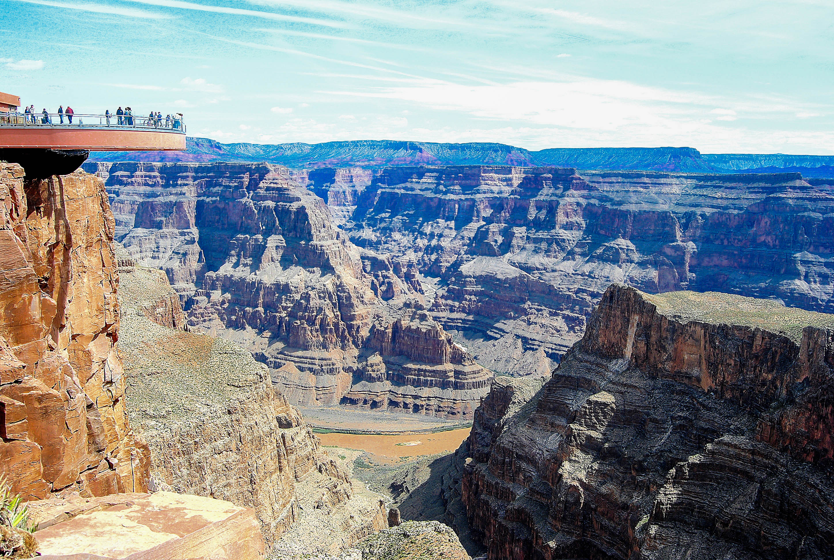 De horseshoe skywalk in de Grand Canyon