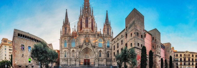 Panorama-of-Barcelona-Cathedral-Spain-Barri-Gothic-iStock_000087783903_Large