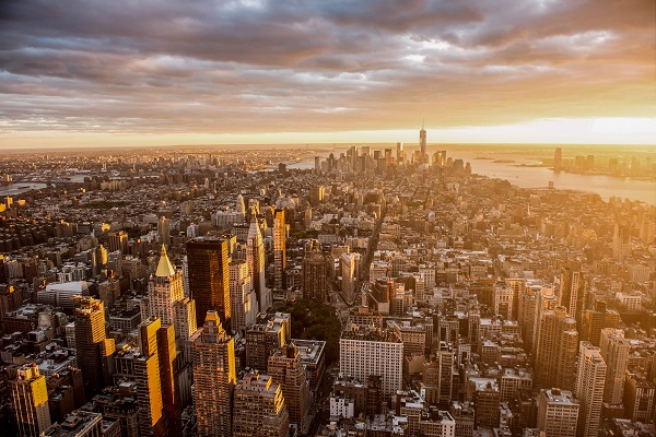 Zonsondergang in New York