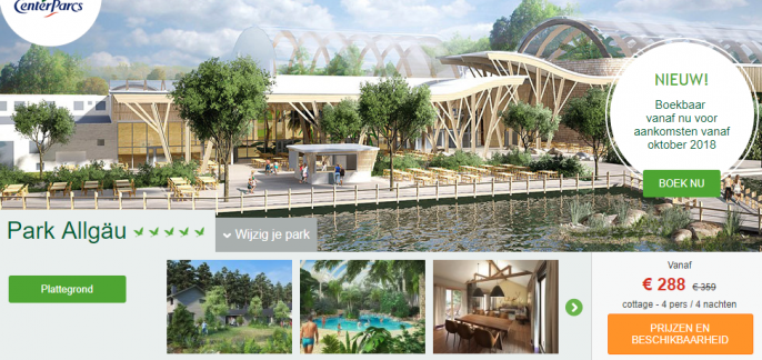 Screenshot van de Center Parcs deal