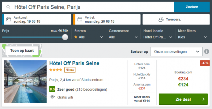 Screenshot van de hoteldeal