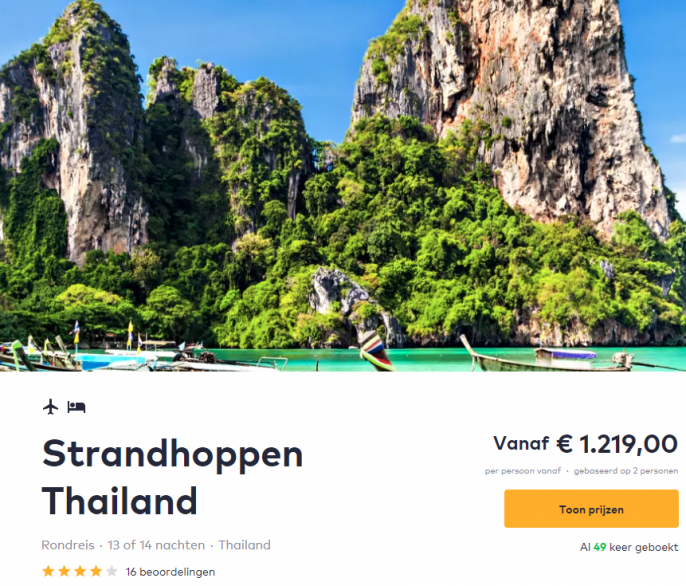 Screenshot van de rondreis Thailand