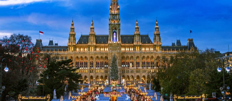 Christmas Market Vienna, traditional market at Vienna Town Hall in December