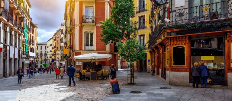 Old-cozy-street-in-Madrid-Spain.-Architecture-and-landmark-of-Madrid-postcard-of-Madrid_566971969